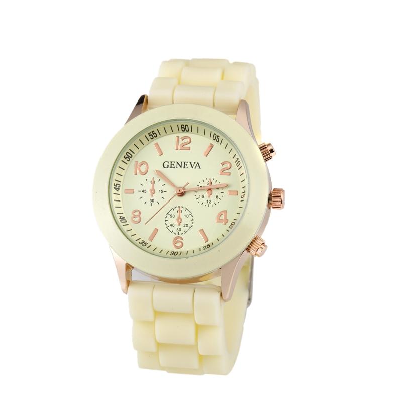 Módní hodinky Geneva světle žluté