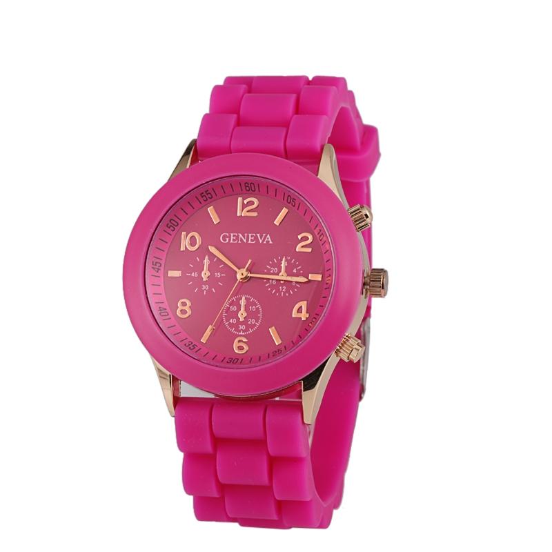 Módní hodinky Geneva Růžové tmavé